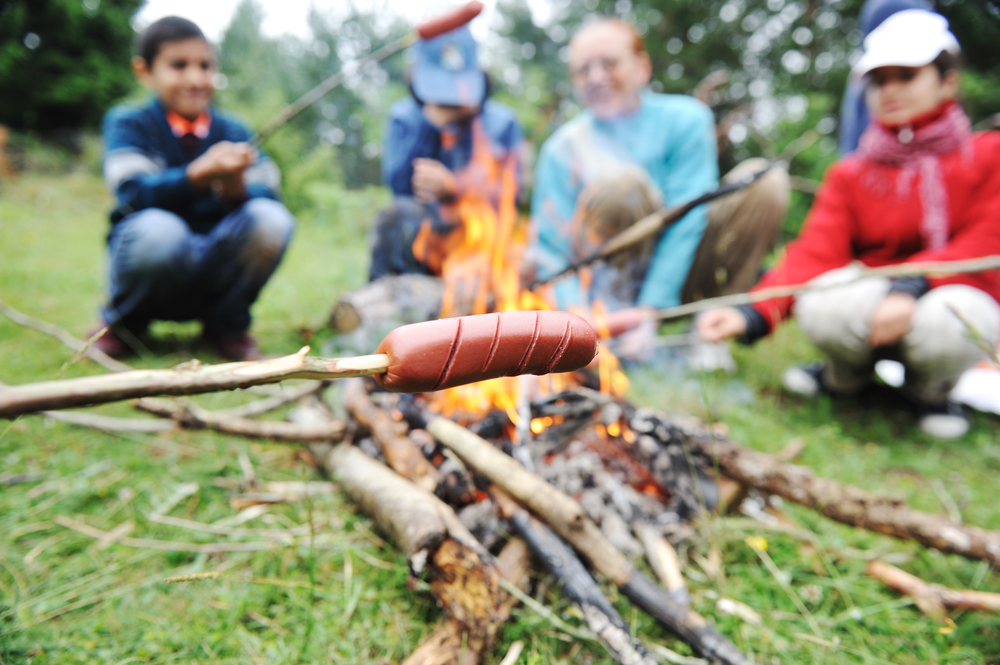 Barbecue in nature, group of people preparing sausages on fire (note shallow dof)